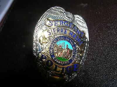 SIERRA MADRE CA Sergeant  Police OFFICER  Mini Silver Gold Badge PIN Tie Tac