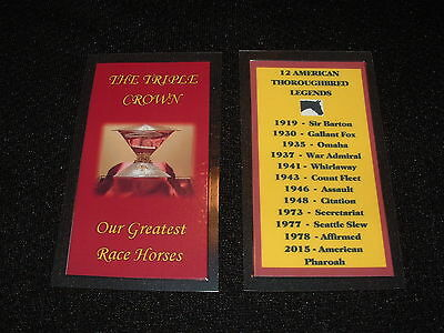 TRIPLE CROWN FACTS Card Horse Racing Keepsake Secretariat American Pharoah
