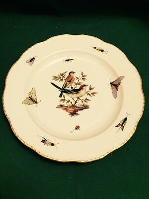 KPM BERLIN EXCEPTIONAL BIRD & INSECT PAINTED 9.75in PLATE Ca. 1880