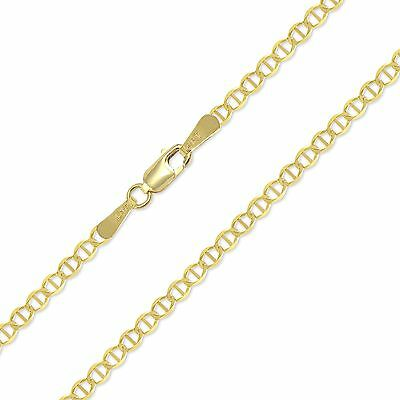 "14K SOLID YELLOW GOLD Mariner Necklace Chain 2mm 16-24"" - Anchor Link Men Women"