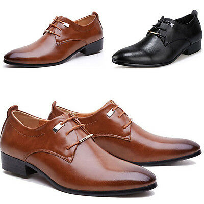 Men's Casual Leather Oxfords Pointed Lace Up Business Wedding Formal Dress Shoes
