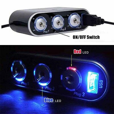 3 Way Triple Car Cigarette Lighter Socket Splitter +LED 12V/24V Light Switch+USB