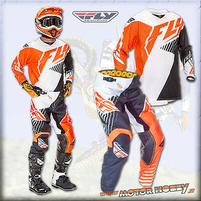 Completo Motocross Enduro Fly Kinetic Black White Orange Fluo 2016 Taglia L - 32