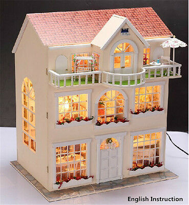 Wooden Miniature dolls house Doll house furniture DIY Kit-w /LED-Large Villa