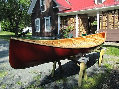 Finely Crafted New Wood Canvas Canoe