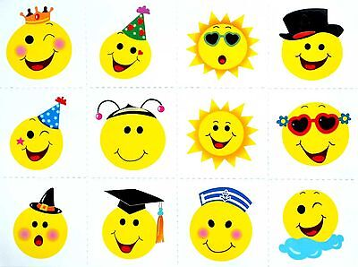 24 PK Smiley Face Temporary Tattoos Party Loot Bag Fillers Boys or Girls