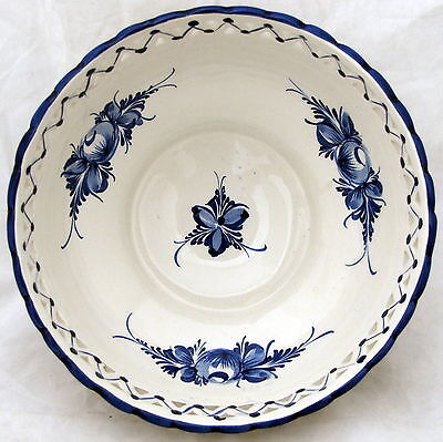 RCCL Hand Painted Bowl Ceramic Blue Portugal Flower Fruit Pottery Numbered 346