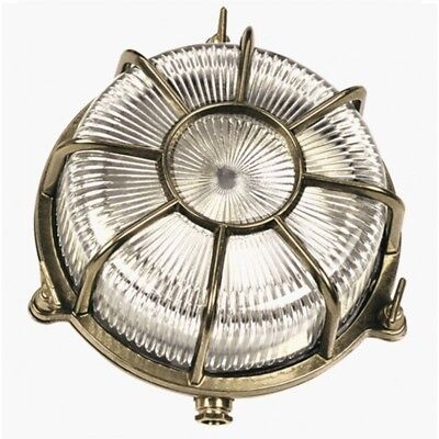 Outdoor Brass Round Bulkhead. Garden Wall / Ceiling Light. Marine Nautical Light