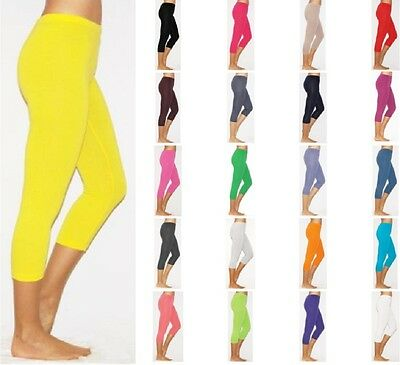 Womens Summer Cropped Cotton Leggings UK 6-26