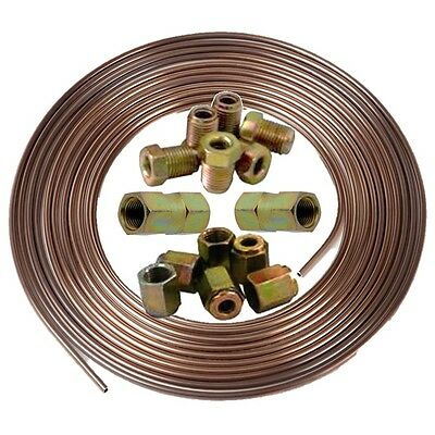 "Copper Nickel Kunifer Brake Pipe 25ft Roll 3/16"" Metric Male Female Inline Ends"