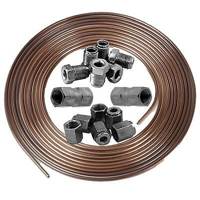 "Copper Nickel Kunifer Brake Pipe 3/16""  25ft Roll 3/8"" Male Female Inline Ends"