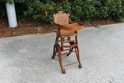 Fantastic Rare Victorian Oak Renaissance Revival Convertible High Chair Rocker