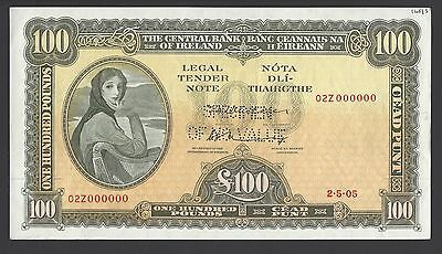 Ireland 100 Pounds 2-5-05 P69s Specimen Perforated About Uncirculated