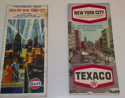 Lot of two Vintage NYC Maps - From Gulf and Texaco - mid to late 1960