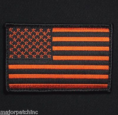 Usa United States American Flag Uniform Black Ops Orange Velcro® Brand Patch