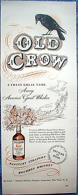 1949 Old Crow Whiskey 1825 James Crow Discovered Limestone Spring ad