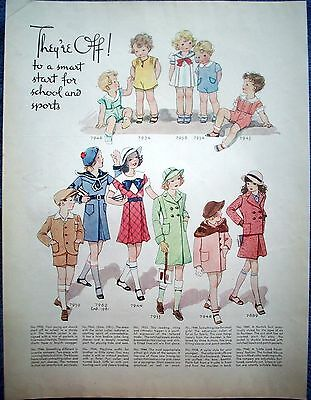 1934 Vintage Clothes Patterns Toddlers Girls Smart Start School Sports ad