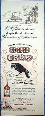1948 Old Crow Whiskey River Paddle Boat Barrels Under Tree ad