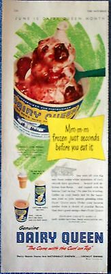 1951 Dairy Queen Strawberry Sundae Ice Cream Cone With The Curl On Top ad