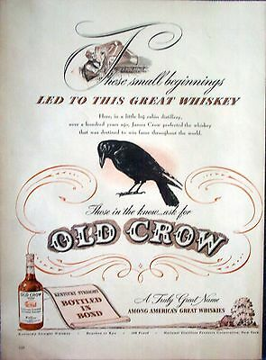 1946 Old Crow Whiskey Small Beginnings Led To Great Whiskey ad
