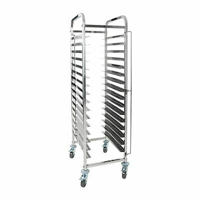 Stainless Steel Gastronorm Double Trolley Bakery Bun Bread Tray Brakes New