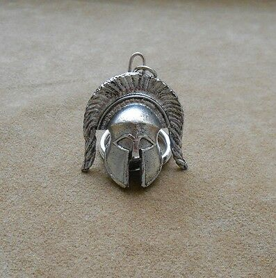 Ancient Greek Warriors helmet (horizontal plume) keychain, keyring silver color