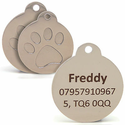 Personalised Engraved Silver Paw Print Tag Dog Cat Pet ID Tags SMALL/LARGE SIZES