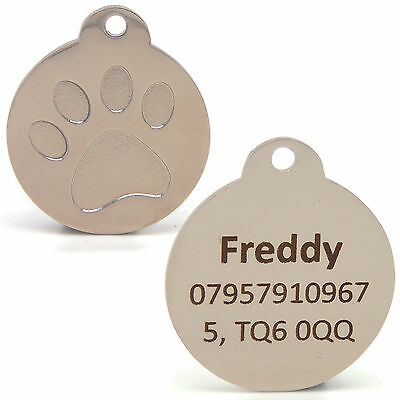Personalised Engraved 25mm Silver Paw Print Tag Dog Cat Pet ID Tags