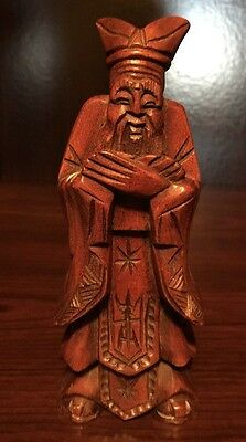 """Vintage Chinese Wooden Hand Carved Wise old Man 5"""""""