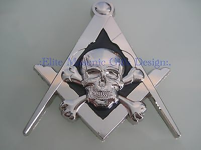 New3D Masonic Master Mason Skull Car Emblem, [Silver] EliteMasonicGiftsDesign...