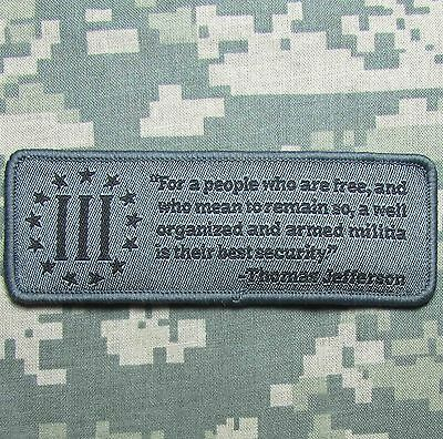 Well Armed Militia 2A Tactical Usa Army Military Morale Acu Dark Hook Patch