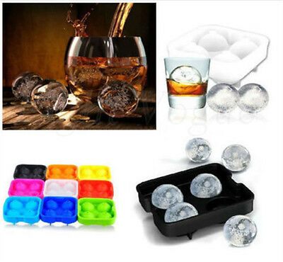 Round Ice Balls Maker Tray Four Large Sphere Molds Mould Cube Whiskey Cocktails