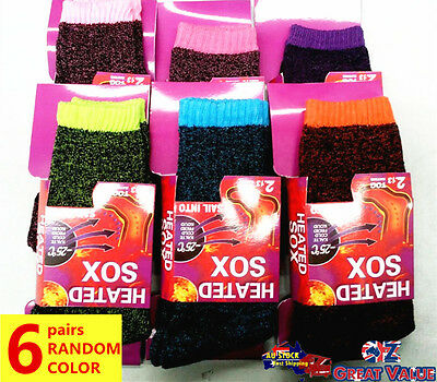 6 Pairs Women Heated Heat Thermal Socks UK 4-8 Winter Warm Work Boot Sock Random