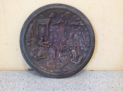 Mid 19th Century Bronze over Cast Roman or Greek plaque