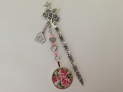Pink Roses Glass Cabochon Silver Plated Setting Rhinestone Heart Charm Bookmark