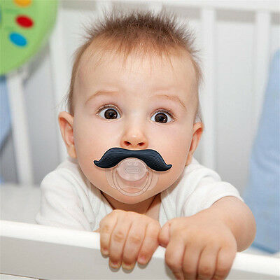 Baby Infant Orthodontic Silicone Nipple Funny Mustache Dummy Beard Pacifier uk