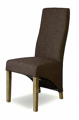 Kemble solid oak furniture set of four tweed dark brown fabric dining chairs