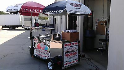 Tow-able Italian Ice Cart with sink & 80 tubs of ice Mustache Mike's FC14ST