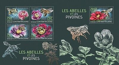 CA13423ab Central Africa 2013 Bees and Peonies MNH SET **