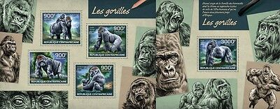 CA14222ab Central Africa 2014 Gorillas MNH SET **