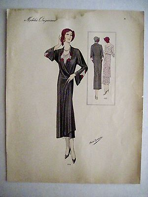 Vintage French Illustration of 1920-30's Woman Fashions by Atelier Bachroitz *
