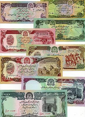 AFGHANISTAN Middle East UNC set of 8 10,20,50,100,500,1000,5000,10000 Afghanis