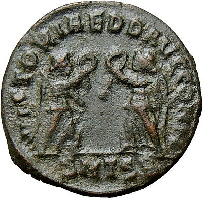 Constans AE4 Two Victories Thessalonica Mint Authentic Ancient Roman Coin Rare