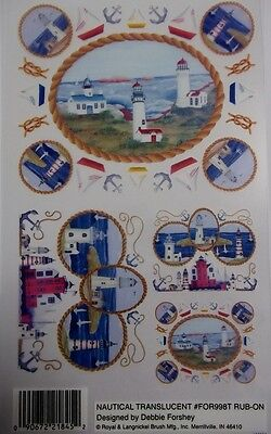 Royal & Langnickel Rub-on Transfers - *NAUTICAL TRANSLUCENT*   Lighthouse, Yacht