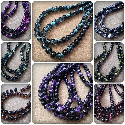 50 x Transparent Drawbench Glass Beads - Round - Black - 8mm [Various Colours]
