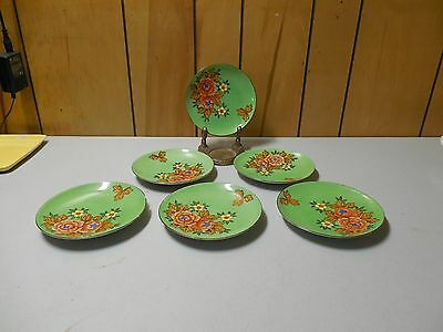 "Lot of 6 Vintage Made in Japan Hand Painted Floral Pattern Plates 6"" wide"