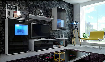 Living Room Furniture Set TV Stand Unit Cupboard Front High Gloss White Black
