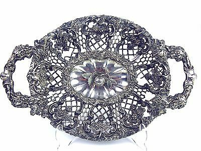 Openwork Tray. Silver. Finely Stall And Engraved By Hand. Xix Century