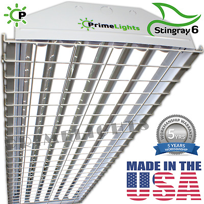 120W 6 Lamp High Bay Warehouse Shop Gym Light Fixture T8 LED Wire Guards & Bulbs
