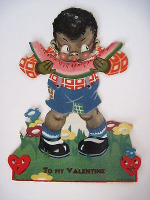 Vintage Black Americana Valentine w/ A Boy Eating A Big Piece of Watermelon *